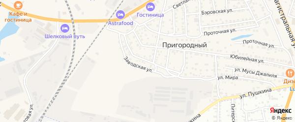 Казанская улица на карте Пригородного поселка Астраханской области с номерами домов
