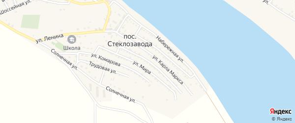 Улица 40 лет Октября на карте поселка Стеклозавода Астраханской области с номерами домов