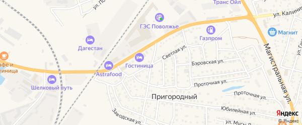 Серебристая улица на карте Пригородного поселка Астраханской области с номерами домов