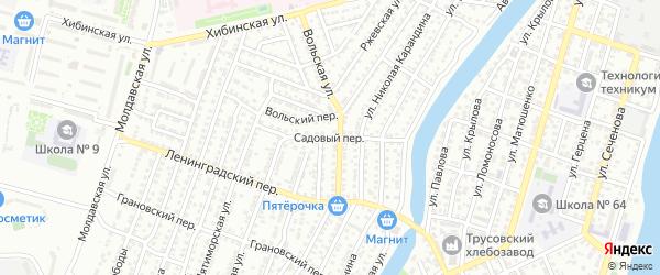 Садовый переулок на карте Астрахани с номерами домов