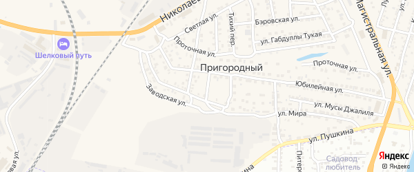 Казанский переулок на карте Пригородного поселка Астраханской области с номерами домов