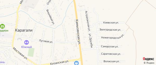 Камызякская улица на карте села Карагали с номерами домов