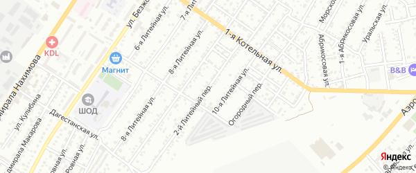 Литейный 2-й переулок на карте Астрахани с номерами домов