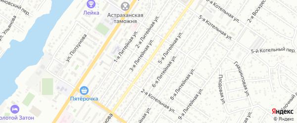 Котельная 3-я улица на карте Астрахани с номерами домов