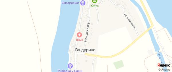 Молодежная улица на карте села Гандурино Астраханской области с номерами домов