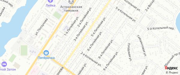 Литейная 5-я улица на карте Астрахани с номерами домов