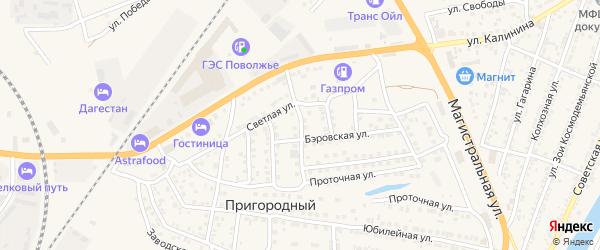 Переулок Неверова на карте Пригородного поселка Астраханской области с номерами домов