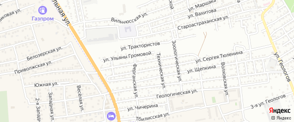 Улица Любы Шевцовой на карте Астрахани с номерами домов
