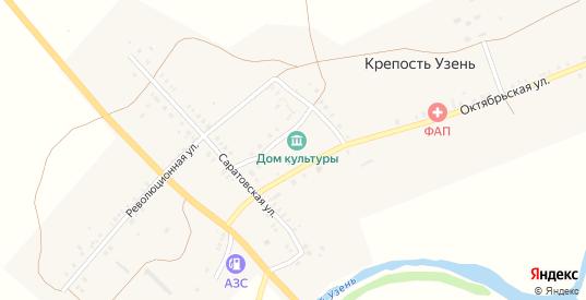 Улица Площадь космонавтов в селе Крепость Узень в Саратовской области с номерами домов на карте. Спутник и схема онлайн