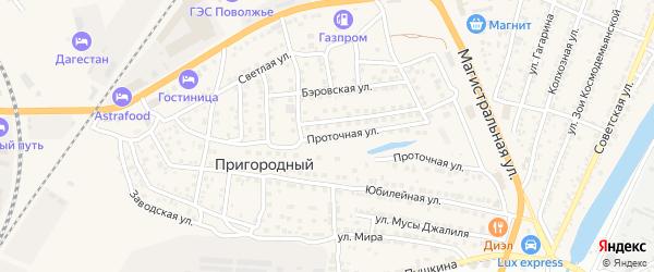Проточная улица на карте Пригородного поселка Астраханской области с номерами домов