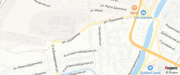 Пригородная улица на карте Астрахани с номерами домов