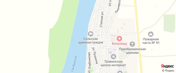 Улица Хлебникова на карте села Образцово-Травино Астраханской области с номерами домов