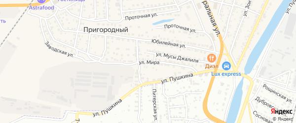 Улица Мира на карте села Солянки Астраханской области с номерами домов