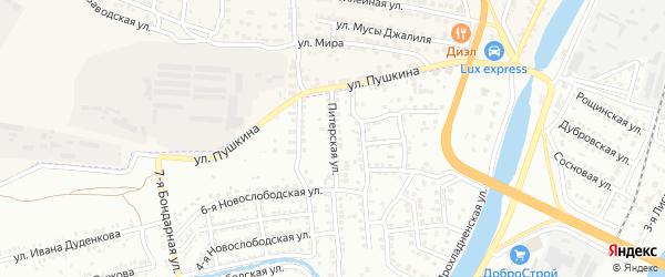 Питерская улица на карте Астрахани с номерами домов