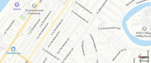 Вязовский 2-й переулок на карте Астрахани с номерами домов