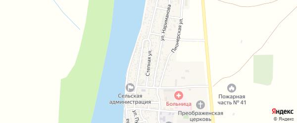 Степная улица на карте села Образцово-Травино Астраханской области с номерами домов
