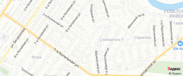 Плодовый переулок на карте Астрахани с номерами домов