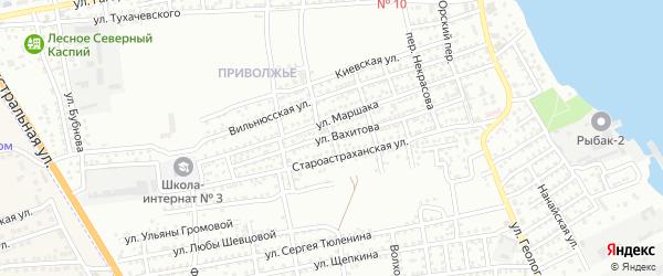 Переулок А.Невского на карте Астрахани с номерами домов