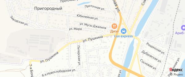 Улица Пушкина на карте Пригородного поселка Астраханской области с номерами домов