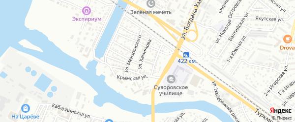 Переулок Хамимова на карте Астрахани с номерами домов