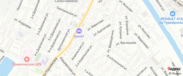 Владикавказская улица на карте Астрахани с номерами домов