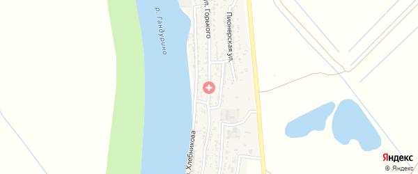 Улица М.Горького на карте села Образцово-Травино Астраханской области с номерами домов