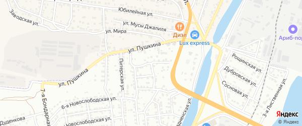3-й Знаменский переулок на карте Астрахани с номерами домов