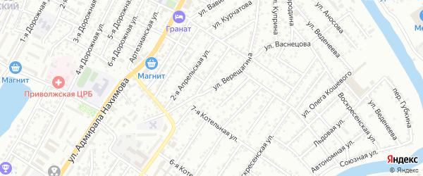 Улица Верещагина на карте Астрахани с номерами домов