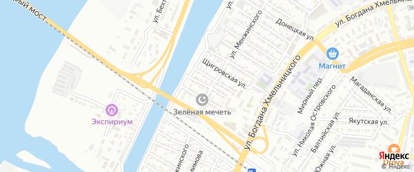 Улица Джанибекова на карте Астрахани с номерами домов