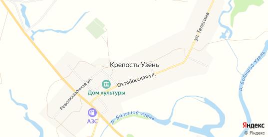 Карта села Крепость Узень в Саратовской области с улицами, домами и почтовыми отделениями со спутника онлайн