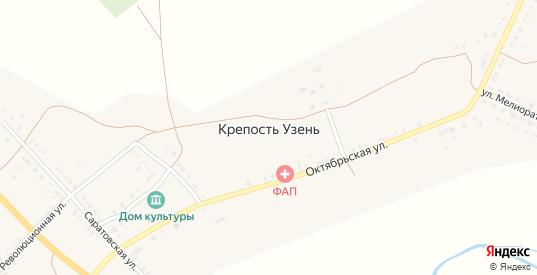 Историческая улица в селе Крепость Узень в Саратовской области с номерами домов на карте. Спутник и схема онлайн