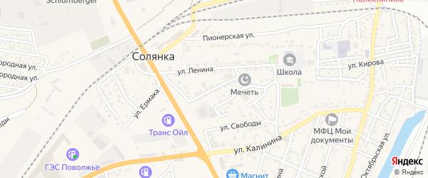 Апрельская улица на карте села Солянки Астраханской области с номерами домов