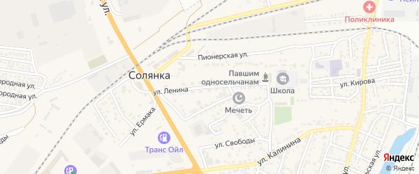 Улица Ленина на карте села Солянки Астраханской области с номерами домов