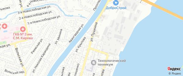 Спортивный переулок на карте Астрахани с номерами домов