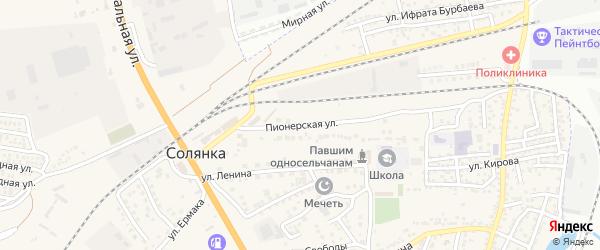 Пионерская улица на карте села Солянки Астраханской области с номерами домов