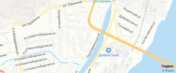 Лотосная улица на карте Астрахани с номерами домов