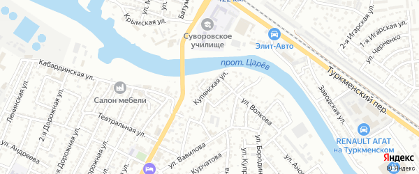 Купянская улица на карте Астрахани с номерами домов