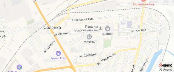 Сентябрьская улица на карте села Солянки Астраханской области с номерами домов