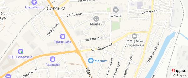 Улица Свободы на карте села Солянки Астраханской области с номерами домов