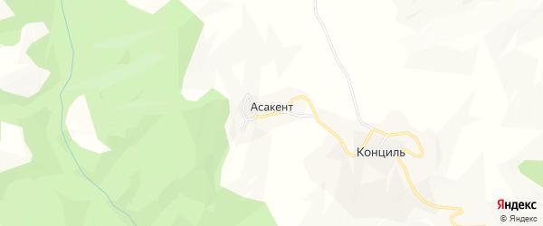 Карта села Асакента в Дагестане с улицами и номерами домов