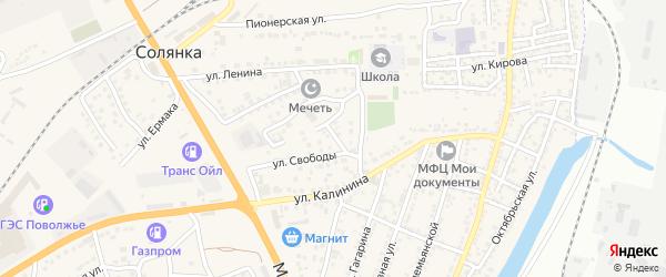 Вилюйская улица на карте села Солянки Астраханской области с номерами домов