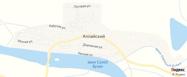 Территория сот СтароАллайское на карте Аллайский поселка Астраханской области с номерами домов