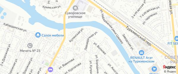 Левоеричная улица на карте Астрахани с номерами домов
