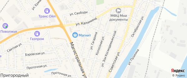 Улица Гагарина на карте села Солянки Астраханской области с номерами домов