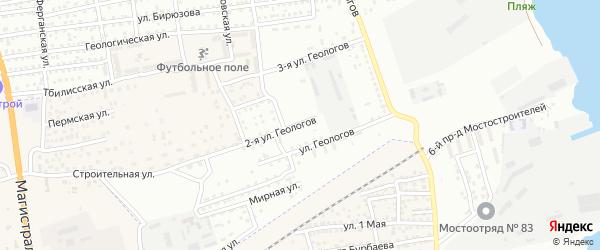 Геологов 2-я улица на карте Астрахани с номерами домов
