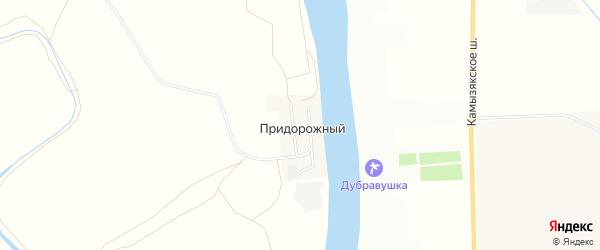 Садовое товарищество сдт Шельф на карте Придорожного поселка Астраханской области с номерами домов