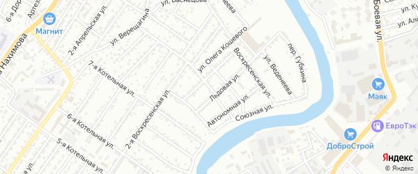 Дачный 2-й переулок на карте Астрахани с номерами домов