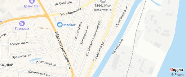 Улица Зои Космодемьянской на карте села Солянки Астраханской области с номерами домов