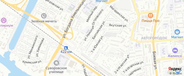 Улица Деминского на карте Астрахани с номерами домов