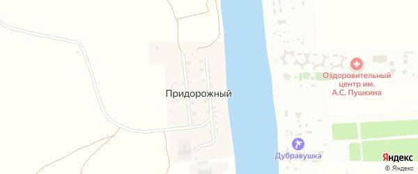 Центральная улица на карте Придорожного поселка Астраханской области с номерами домов